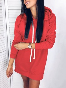 Red Drawstring Hooded Side Slit Casual Mini Dress