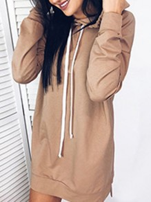 Khaki Drawstring Hooded Side Slit Casual Mini Dress