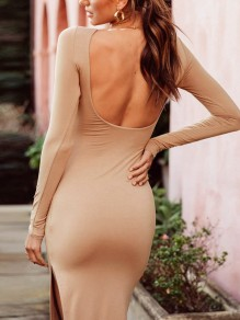 Black Side Slit Backless Long Sleeve Party Midi Dress