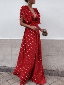 Red Polka Dot Draped Backless Ruffle Plunging Neckline Sleeveless Elegant Maxi Dress