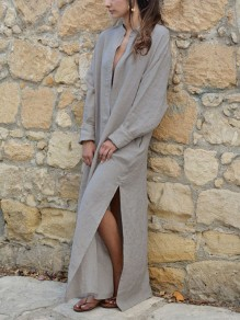 Grey Side Slit Long Sleeve Fashion Going out Maxi Dress