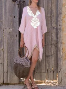Pink White Patchwork Lace Backless Embroidery Irregular Deep V-neck Bohemian Mexican Midi Dress