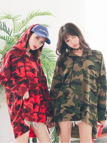 Army Green Camouflage Drawstring High-Low Plus Size Long Sleeve Casual Cute Mini Hooded Sweatshirt Dress