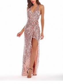 Rose Gold Patchwork Sequin Sashes High-Low Halter Neck Backless V-neck Elegant Maxi Ball Gown Dress