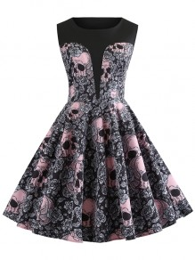 Grey Pink Floral Skull Print Sleeveless Party Halloween Midi Dress