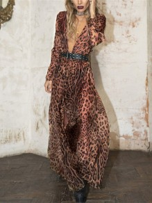 Leopard Print Draped Long Sleeve Deep V-neck Beachwear Party Maxi Dress