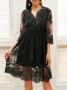 Black Patchwork Lace Grenadine Sequin Pleated High Waisted Deep V-neck Elegant Party Mini Dress