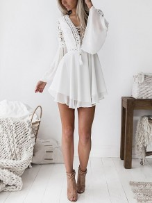 e514ab77dd11 White Patchwork Lace Grenadine Draped Lace-up Flare Sleeve Homecoming Party  Mini Dress