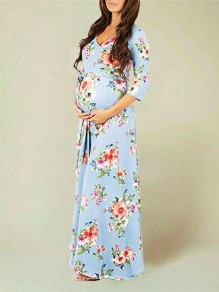 Light Blue Floral Cross Sashes Photoshoot Baby Shower 3/4 Sleeve Comfy Casual Maxi Maternity Dress