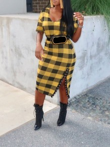 Yellow-Black Plaid Studded Hook Side Slits Bodycon V-neck Casual Maxi Dress
