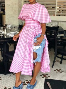Pink White Plaid Print Ruffle Houndstooth Side Slit High Waisted Sweet Maxi Dress