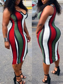 Red Striped Print Irregular Bodycon Spaghetti Strap Deep V-neck Backless Casual Clubwear Midi Dress