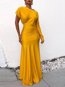 Yellow Asymmetric Shoulder Mermaid Bodycon Elegant Party Maxi Dress