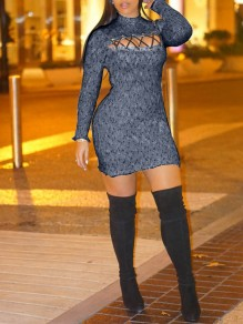 Black Cut Out Lace-up Long Sleeve Bodycon Sweater Party Mini Dress