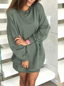 Army Green Long Sleeve Round Neck Casual Sweet Going out Mini Dress