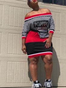 "Black Monogram ""POPPIN"" Plaid Print Houndstooth Off Shoulder Bodycon Hip-hop Mini Dress"