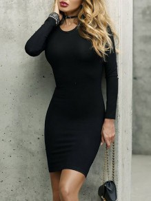 Black Long Sleeve Round Neck Party Going out Mini Dress