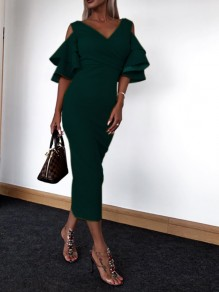 Dark Green Ruffle Elbow Sleeve V-neck Going out Party Maxi Dress