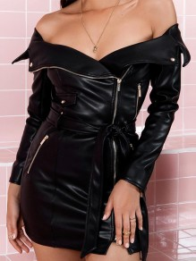 Black Zipper Irregular Bodycon Off Shoulder Long Sleeve Clubwear Casual Fashion PU Leather Mini Dress
