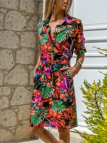 Multicolor Floral Print Buttons Going out Midi Dress