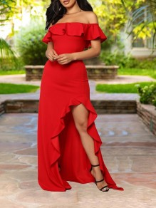 Red Ruffle Off Shoulder Irregular High-Low Bodycon Elegant Prom Party Maxi Dress