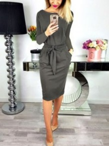 Army Green Sashes Pockets Off Shoulder Bodycon Elegant Midi Dress