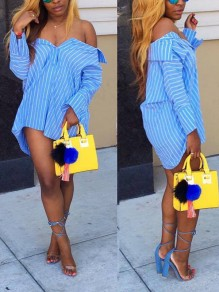 Blue Striped Off Shoulder Single Breasted Long Sleeve Blouses Party Mini Dress