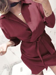 Wine Red Sashes V-neck Irregular Turndown Collar Casual Mini Dress