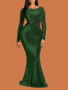 Dark Green Cross Bright Wire Backless Bodycon Mermaid Long Sleeve Elegant Formal Maxi Dress
