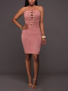 9ccd71a6cdd Pink Cross Cut Out Lace-up Bodycon Pleuche Spaghetti Strap Backless Elegant  Clubwear Party Midi