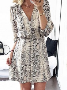 White Snake Floral Print Buttons V-neck 3/4 Sleeve Fashion Mini Dress