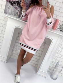 Pink Bow Long Sleeve Sweet Going out Party Mini Dress