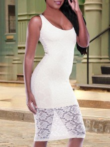White Patchwork Lace Backless U-neck Bodycon Elegant Party Midi Dress