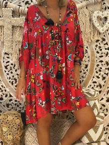 Red Animal Print 3/4 Sleeve V-neck Bohemian Sweet Going out Mini Dress