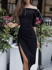 Black Bright Wire Off Shoulder Irregular Side Slits Long Sleeve Elegant Party Maxi Dress