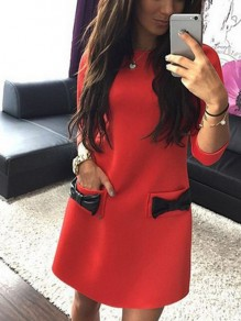 Red Bow 3/4 Sleeve Round Neck Sweet Going out Mini Dress