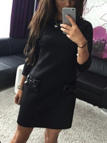 Black Bow 3/4 Sleeve Round Neck Sweet Going out Mini Dress