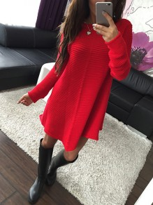 Red Long Sleeve Round Neck Casual Sweet Going out Mini Dress