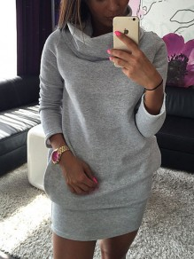 Grey Pockets Long Sleeve Casual Sweet Going out Mini Dress
