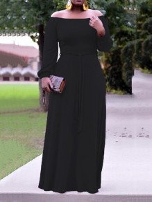 Black Pleated Off Shoulder Belt Long Sleeve Party Maxi Dress