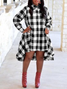 White-Black Plaid Irregular Single Breasted High-low Pockets Turndown Collar Casual Midi Dress