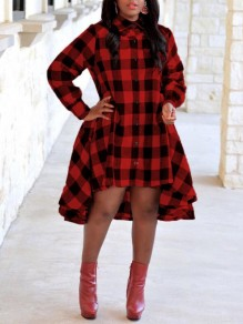 Red/Black Plaid Irregular Single Breasted High-low Pockets Turndown Collar Casual Midi Dress
