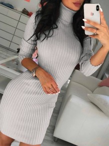 Grey Patchwork High Neck Fashion Skinny Knit Midi Dress