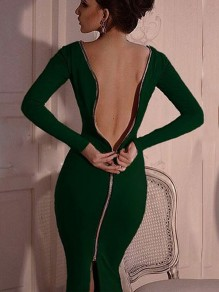 Green Zipper Backless Slit Back Bodycon clubwear Round Neck Long Sleeve Maxi Dress