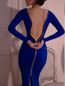 Blue Zipper Backless Slit Back Bodycon clubwear Round Neck Long Sleeve Maxi Dress