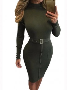 Army Green Patchwork Pockets Belt Zipper High Neck Long Sleeve Casual Midi Dress