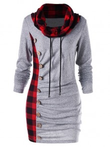 Grey Checkered Buttons Drawstring Pleated Cowl Neck Long Sleeve Casual Mini Dress