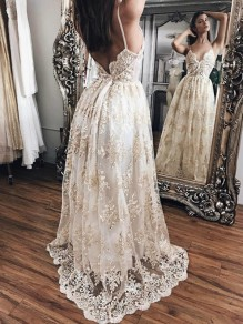 White Patchwork Lace Spaghetti Strap Backless V-neck Prom Evening Party Maxi Dress