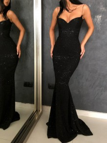 Black Sequin Glitter Spaghetti Strap Backless Sparkly Mermaid Banquet Evening Party Maxi Dress