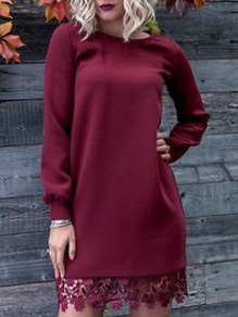 Burgundy Lace Round Neck Long Sleeve Going out Mini Dress